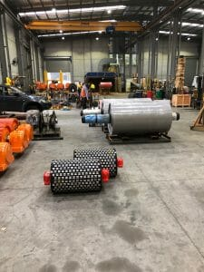 A range of conveyor pulleys